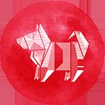 A red dog symbol
