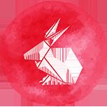 A red rabbit symbol